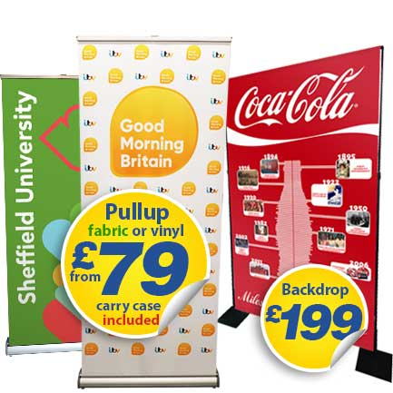 fabric pullup roller banner and banner backdrops